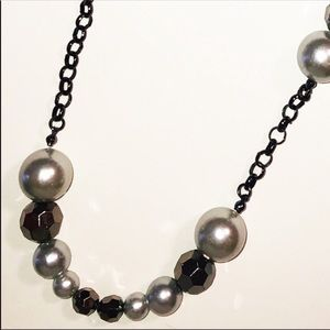 Faux Pearl and Bead Black and Gray Necklace